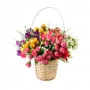 БУКЕТЧЕ 15цветчета МИНИ РОЗИЧКИ с бели цветчета 30см