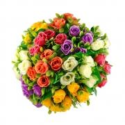 БУКЕТЧЕ 5цветчета РОЗИЧКИ със зеленина 22см