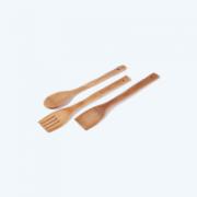 ПРИБОРИ ДЪРВЕНИ 3бр 30см /вилица,лъжица,шпатула бамбук