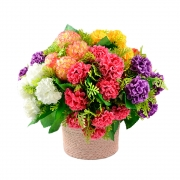 БУКЕТЧЕ 5цветчета ХОРТЕНЗИЯ със зеленина 22см